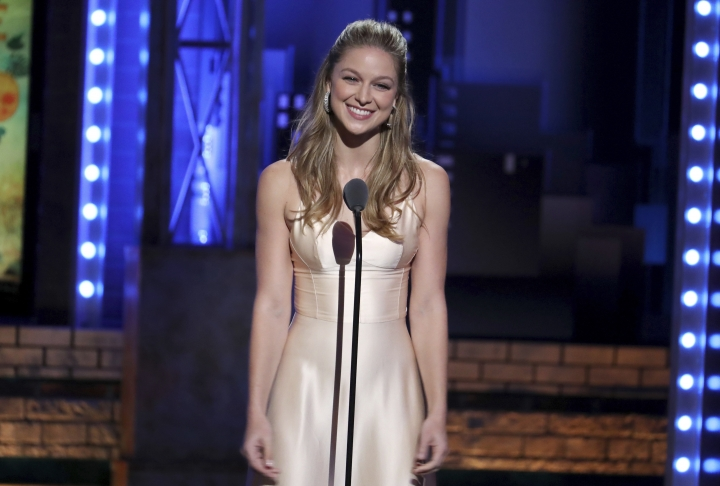 "FILE - In this June 10, 2018 file photo, Melissa Benoist introduces a performance by the cast of ""Once on This Island"" at the 72nd annual Tony Awards in New York. The actress, who stars on the CW series ""Supergirl"" will play legendary songwriter Carole King on Broadway. (Photo by Michael Zorn/Invision/AP, File)"