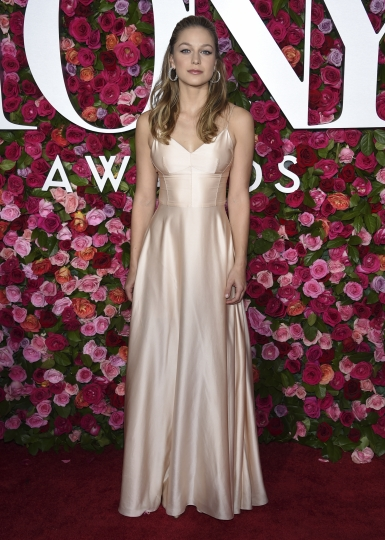 """FILE - In this June 10, 2018 file photo, Melissa Benoist arrives at the 72nd annual Tony Awards in New York. The actress, who stars on the CW series """"Supergirl"""" will play legendary songwriter Carole King on Broadway. (Photo by Evan Agostini/Invision/AP, File)"""