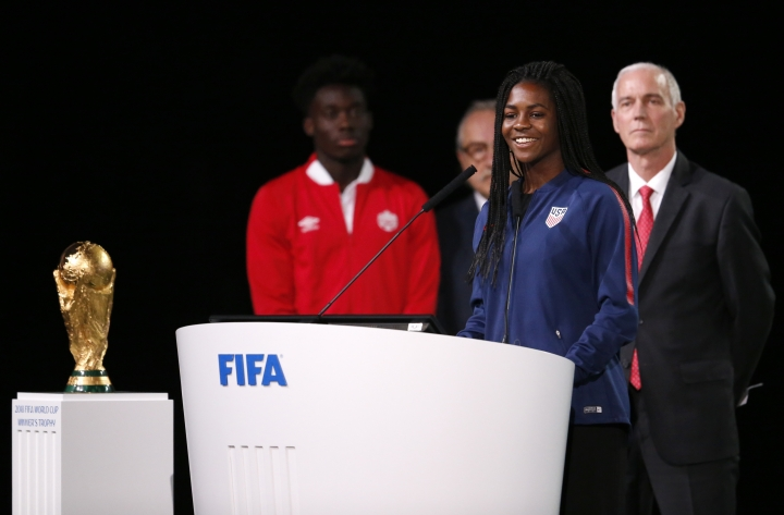 American soccer player Brianna Pinto speaks at the FIFA congress on the eve of the opener of the 2018 soccer World Cup in Moscow, Russia, Wednesday, June 13, 2018. The congress in Moscow is set to choose the host or hosts for the 2026 World Cup. (AP Photo/Alexander Zemlianichenko)
