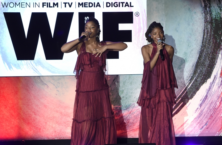 Chloe Bailey, left, and Halle Bailey, of Chloe x Halle, perform at the Women In Film Crystal and Lucy Awards at the Beverly Hilton Hotel on Wednesday, June 13, 2018, in Beverly Hills, Calif. (Photo by Chris Pizzello/Invision/AP)