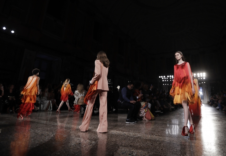 Models wear creations as part of the Alberta Ferretti men's Spring-Summer 2019 collection, that was presented in Milan, Italy, Friday, June 15, 2018. (AP Photo/Luca Bruno)