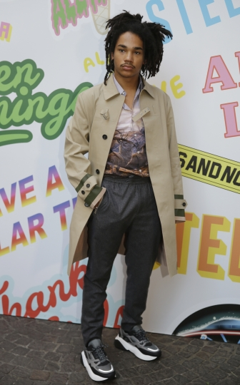 Luka Sabbat arrives to attend the Stella McCartney men's Spring-Summer 2019 collection, that was presented in Milan, Italy, Monday, June 18, 2018. (AP Photo/Luca Bruno)