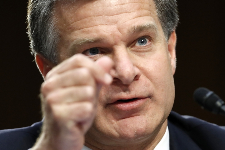 FBI Director Christopher Wray speaks during a hearing of the Senate Judiciary Committee to examine Horowitz's report of the FBI's Clinton email probe, on Capitol Hill, Monday, June 18, 2018 in Washington. (AP Photo/Jacquelyn Martin)