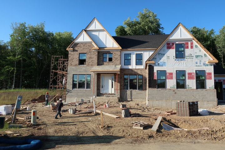 This May 25, 2018, photo shows a home under construction in Hampton Township, Pa. On Tuesday, June 19, the Commerce Department reports on U.S. home construction in May. (AP Photo/Ted Shaffrey)