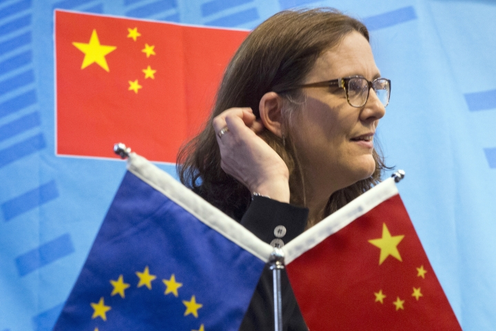 FILE - In this July 11, 2016, file photo, EU Trade Commissioner Cecilia Malmstrom speaks at the University of International Business and Economics in Beijing. One in five foreign companies in China feels compelled to hand over technology for market access, a business group said Wednesday, June 20, 2018, highlighting a key irritant in an escalating U.S.-Chinese trade dispute. The European Union Chamber of Commerce in China's report follows President Donald Trump's order for tariffs on additional Chinese goods in response to complaints Beijing steals or pressures companies to hand over technology. (AP Photo/Ng Han Guan, File)
