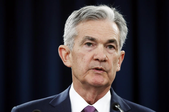 FILE- In this June 13, 2018, file photo Federal Reserve Chair Jerome Powell speaks to the media after the Federal Open Market Committee meeting in Washington. Powell is expected to speak about the job market at a European Central Bank conference in Portugal on Wednesday, June 20. (AP Photo/Jacquelyn Martin, File)