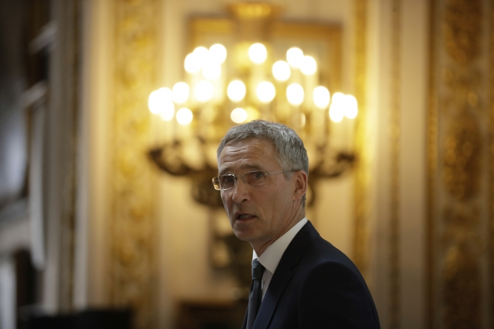 Jens Stoltenberg, the Secretary General of NATO, delivers a pre-NATO summit speech at Lancaster House in London, Thursday, June 21, 2018. The secretary-general of NATO says bonds between Europe and North America have weakened, and he appealed for an international effort to shore up the trans-Atlantic military alliance. (AP Photo/Matt Dunham)