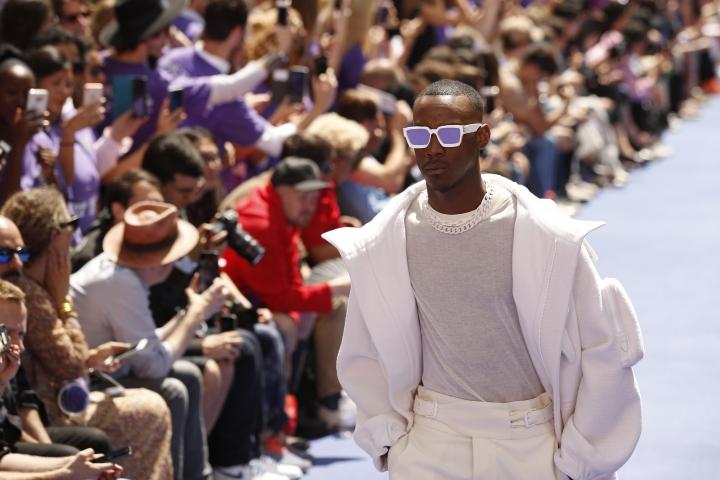 A model wears a creation as part of Louis Vuitton Men's Spring-Summer 2019 fashion collection presented in Paris, Thursday June 21, 2018. (AP Photo/Francois Mori)