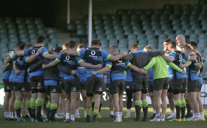Members of the Irish team huddle during their captain's run training session in Sydney, Friday, June 22, 2018, ahead of their rugby union test match against Australia. Ireland will play Australia in Sydney on Saturday. (AP Photo/Rick Rycroft)