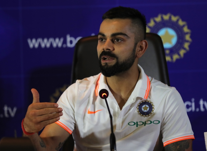 Indian cricket captain Virat Kohli, addresses the media ahead of the team's travel to England and Ireland in New Delhi, India, Friday, June 22, 2018. (Manish Swarup)