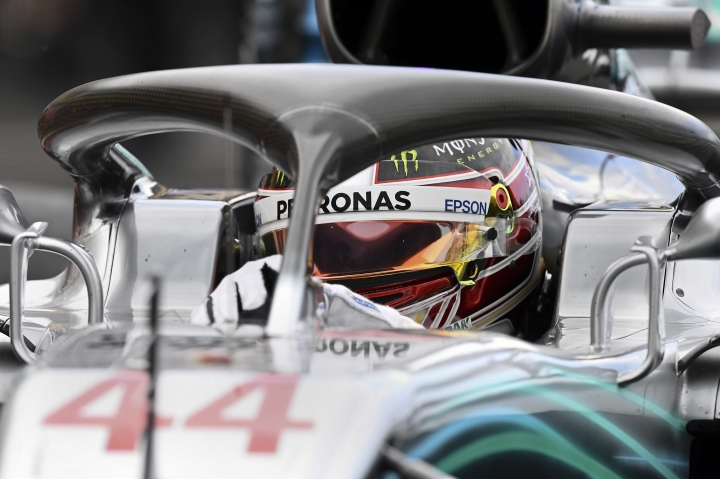 Mercedes driver Lewis Hamilton of Britain sits in his car in the pits during qualifying practice at the Paul Ricard racetrack, in Le Castellet, southern France, Saturday, June 23, 2018. The Formula one race will be held on Sunday. (Boris Horvat/Pool Photo via AP)