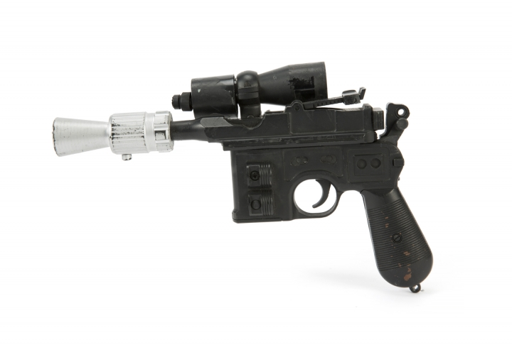"""This photo provided by Julien's Auctions shows character Han Solo's BlasTech DL-44 blaster from the Star Wars trilogy film """"Return of the Jedi"""" (Lucasfilm, 1983) that sold for $550,000 at Julien's Auctions Hollywood Legends auction at Planet Hollywood Resort & Casino, in Las Vegas, on Saturday, June 23, 2018. Julien's Auctions say Ripley's Believe It Or Not purchased the sci-fi weapon. (Julien's Auctions via AP)"""