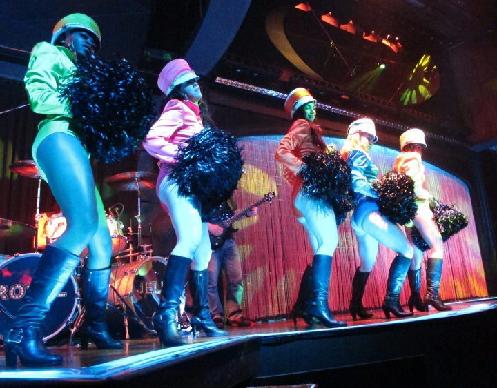 Dancers rehearse with the band at the Royal Jelly night club inside the Ocean Resort Casino in Atlantic City, N.J. on Tuesday, June 26, 2018. The club was part of the former Revel casino, which closed in 2014. It will be part of the new casino which opens on Thursday under new ownership. (AP Photo/Wayne Parry)