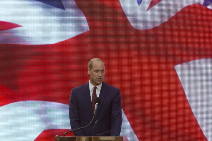 Britain's Prince William delivers a speech during a reception at the British ambassador residence in in Ramat Gan, Israel,Tuesday, June 26, 2018. (AP Photo/Sebastian Scheiner)