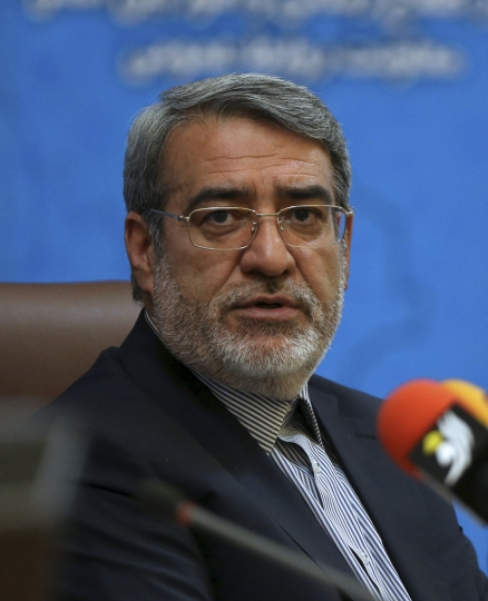 Iranian Interior Minister Abdolreza Rahmani Fazli speaks during a press conference in Tehran, Iran, Sunday, July 1, 2018. Fazli said only one person was wounded in clashes when gunfire erupted as Iranian security forces confronted protesters early Sunday amid demonstrations over water scarcity in the country's south. (AP Photo/Vahid Salemi)