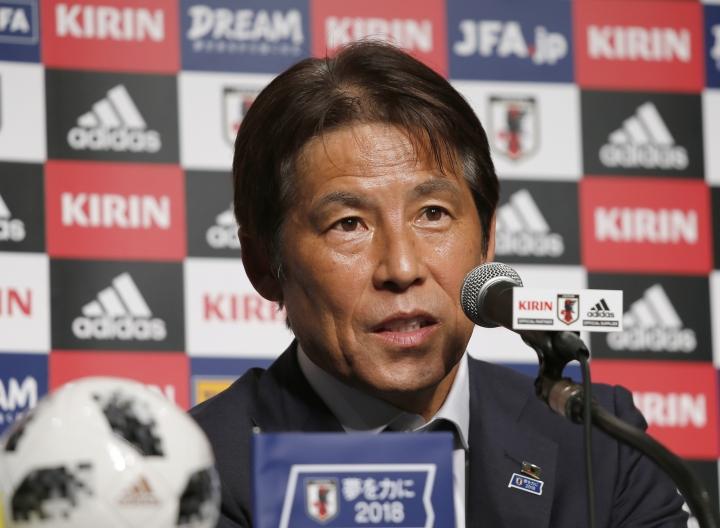 Japanese soccer team coach Akira Nishino speaks during a press conference upon his team's return from the World Cup in Russia, at a hotel in Narita, near Tokyo, Thursday, July 5, 2018. (AP Photo/Shuji Kajiyama)