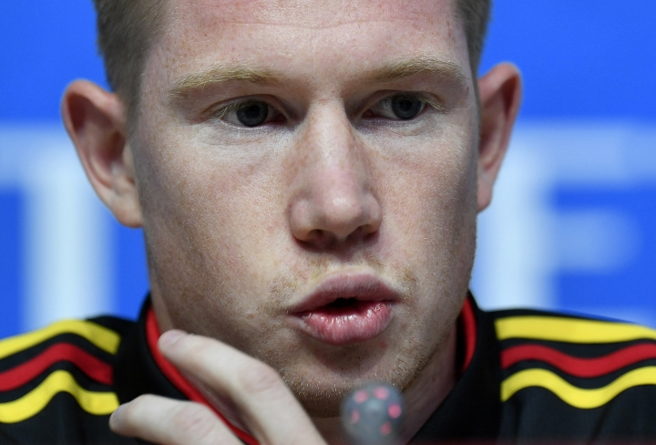 Belgium's Kevin De Bruyne talks to the media during Belgium's official press conference on the eve of the semifinal match between France and Belgium at the 2018 soccer World Cup at the St. Petersburg Stadium in St. Petersburg, Russia, Monday, July 9, 2018. (AP Photo/Martin Meissner)