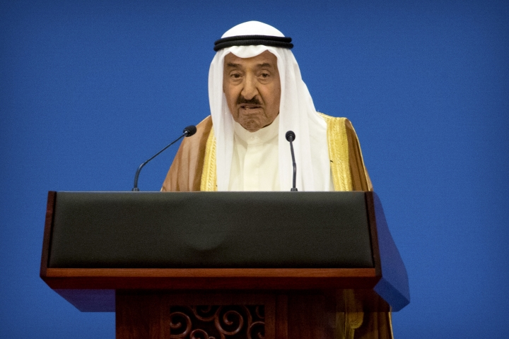 Kuwait's ruling emir, Sheikh Sabah Al Ahmad Al Sabah speaks during the opening session of the 8th Ministerial Meeting of the China-Arab States Cooperation Forum in Beijing, Tuesday, July 10, 2018. China's President Xi Jinping has pledged more than $23 billion in lines of credit, loans and humanitarian assistance to Arab countries in a major push for influence in the region. (AP Photo/Mark Schiefelbein)