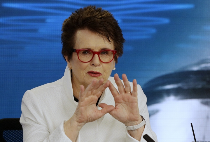 FILE - In this Jan . 12, 2018, file photo, Billie Jean King gestures during a press conference ahead of the Australian Open tennis championships in Melbourne, Australia. King is among more than 60 athletes urging international track and field's governing body to rescind its new standard on natural hormone levels for female runners. The tennis great joined the athletes in an open letter asking the IAAF to end its policy passed in April that limits testosterone levels for middle-distance races. Two sports groups — the Women's Sports Foundation and Athlete Ally — released the letter Tuesday, July 10, 2018. (AP Photo/Mark Baker, File)