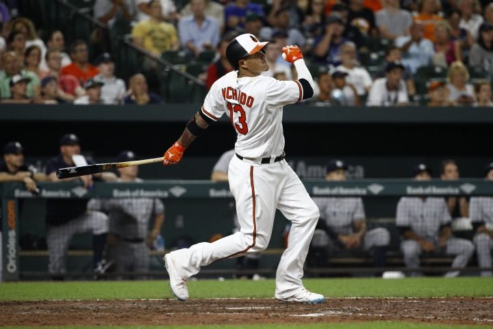 Baltimore Orioles' Manny Machado watches his two-run home run in the seventh inning of a baseball game against the New York Yankees, Tuesday, July 10, 2018, in Baltimore. (AP Photo/Patrick Semansky)