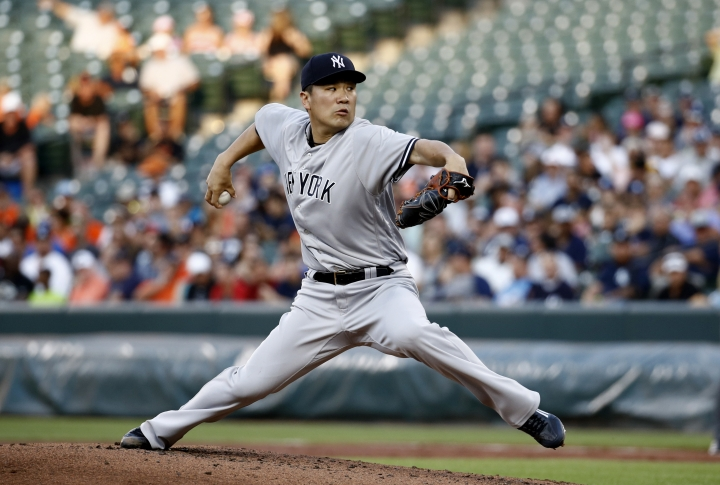 New York Yankees starting pitcher Masahiro Tanaka, of Japan, throws to the Baltimore Orioles in the second inning of a baseball game, Tuesday, July 10, 2018, in Baltimore. (AP Photo/Patrick Semansky)