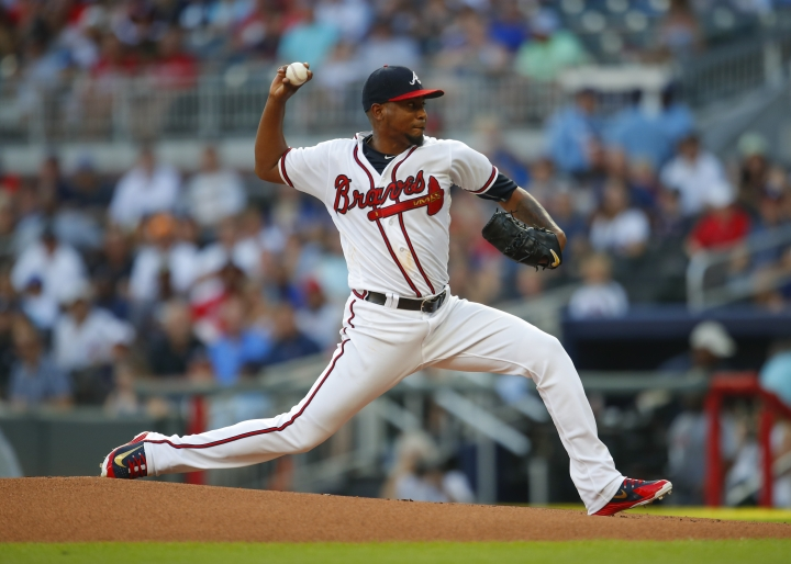 Atlanta Braves starting pitcher Julio Teheran delivers in the first inning of the team's baseball game against the Toronto Blue Jays, Tuesday, July 10, 2018, in Atlanta. (AP Photo/Todd Kirkland)