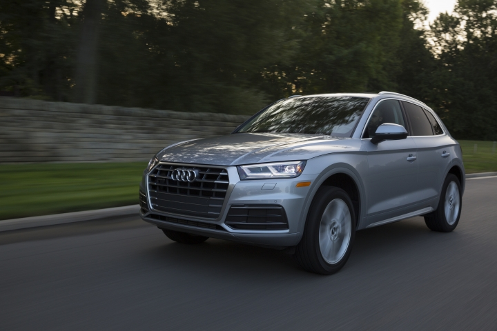 This undated photo provided by Audi shows the 2018 Audi Q5, a modern-looking luxury compact SUV with a starting price of $42,475, including the destination fee. The Audi Q5 and the BMW X3 are two of the most popular compact luxury SUVs out today. Shoppers are typically drawn to the Q5 and the X3 because of their appealing mix of refinement, utility, safety and performance. (Courtesy of Audi AG via AP)