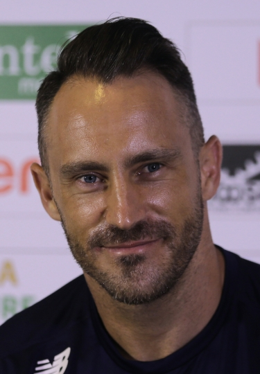 South African cricket team captain Fuf du Plessis speaks during a media briefing ahead of their first test cricket match of a two match series against Sri Lanka in Galle, Sri Lanka, Wednesday, July 11, 2018. (AP Photo/Eranga Jayawardena)