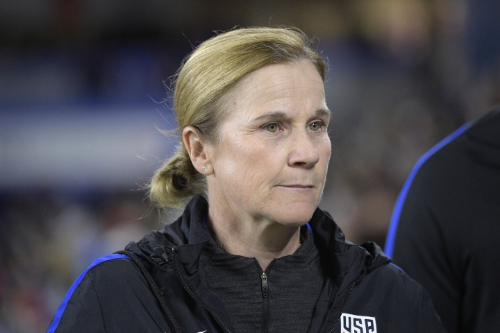 "FILE - In this March 7, 2018, file photo, United States head coach Jill Ellis walks onto the field before a SheBelieves Cup women's soccer match against England, in Orlando, Fla. U.S. women's coach Jill Ellis says her players have an equal right to have FIFA use Video Assistant Referees for their tournament next year in France. FIFA is using VAR for the men's World Cup for the first time this year, and it has led to several key call reversals and an increase in penalty kicks. ""I can't see them not having it. I think it would be a little bit insulting if we weren't afforded the same opportunity,"" Ellis said Wednesday, July 11, 2018, during a roundtable discussion with U.S. reporters. (AP Photo/Phelan M. Ebenhack, File)"