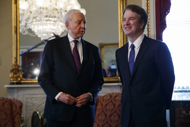 Supreme Court nominee Brett Kavanaugh, right, meets with Sen. Orrin Hatch, R-Utah, on Capitol Hill, Wednesday, July 11, 2018, in Washington. (AP Photo/Evan Vucci)