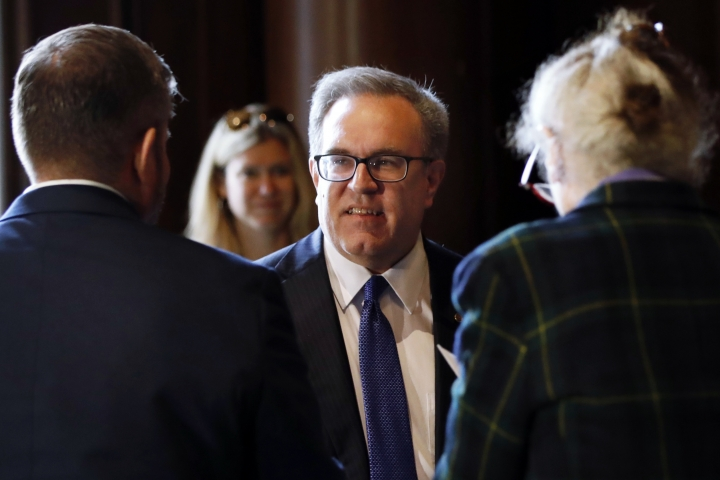 Environmental Protection Agency (EPA) Acting Administrator Andrew Wheeler talks to EPA staffers, Wednesday, July 11, 2018, at EPA Headquarters in Washington. (AP Photo/Jacquelyn Martin)
