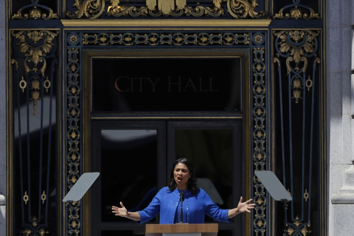 London Breed speaks after she was sworn in as San Francisco's new mayor Wednesday, July 11, 2018, outside City Hall in San Francisco. The 43-year-old Breed becomes the city's first African American female mayor and she inherits a San Francisco battling homelessness, open drug use and unbearably high housing costs. (AP Photo/Marcio Jose Sanchez)