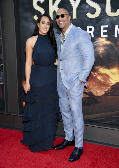 """Actor Dwayne Johnson and daughter Simone Johnson attend the """"Skyscraper"""" premiere at AMC Loews Lincoln Square on Tuesday, July 10, 2018, in New York. (Photo by Evan Agostini/Invision/AP)"""