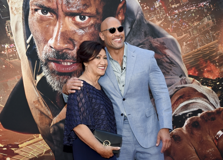 "Actor Dwayne Johnson and mother Ata Johnson attend the ""Skyscraper"" premiere at AMC Loews Lincoln Square on Tuesday, July 10, 2018, in New York. (Photo by Evan Agostini/Invision/AP)"