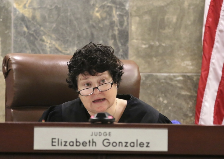 "Judge Elizabeth Gonzalez announces her decision at the Regional Justice Center during a hearing on Wednesday, July 11, 2018, in Las Vegas. Drug manufacturer Alvogen filed suit in an effort to stop Nevada using their drugs in the execution of death row inmate Scott Dozier. Gonzalez ordered the delay Wednesday morning in response to a challenge by New Jersey-based drugmaker Alvogen, which says it doesn't want its product, midazolam, used in ""botched"" executions. (Bizuayehu Tesfaye/Las Vegas Review-Journal via AP)"