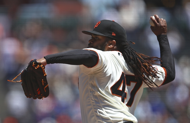 San Francisco Giants pitcher Johnny Cueto works against the Chicago Cubs in the first inning of a baseball game Wednesday, July 11, 2018, in San Francisco. (AP Photo/Ben Margot)