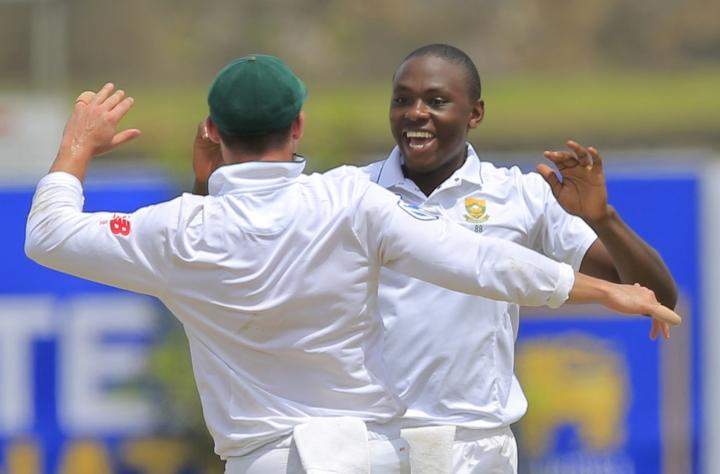 South Africa's Kagiso Rabada celebrates the dismissal of Sri Lanka's Angelo Mathews during the first day's play of their first test cricket match in Galle, Sri Lanka, Thursday, July 12, 2018. (AP Photo/Eranga Jayawardena)