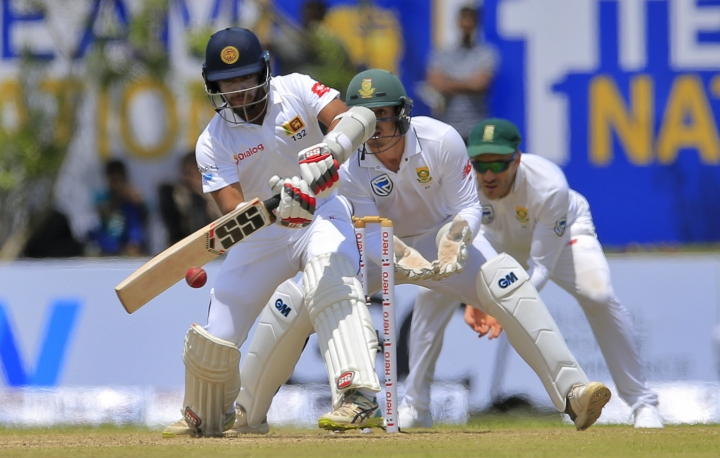 Sri Lanka's Kusal Mendis plays a shot against South Africa during the first day's play of their first test cricket match in Galle, Sri Lanka, Thursday, July 12, 2018. (AP Photo/Eranga Jayawardena)
