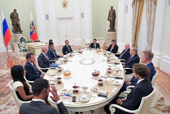 Russian President Vladimir Putin, third right, attends a meeting with world soccer legends in the Kremlin in Moscow, Russia, Friday, July 6, 2018. (Alexei Druzhinin, Sputnik, Kremlin Pool Photo via AP)