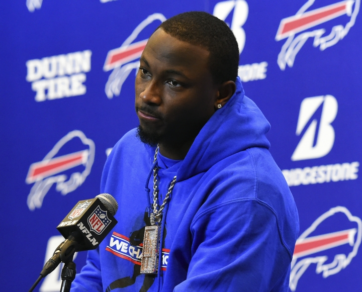FILE - In this Dec. 17, 2017, file photo, Buffalo Bills running back LeSean McCoy (25) speaks with the media following an NFL football game against the Miami Dolphins, in Orchard Park, N.Y. LeSean McCoy says an allegation posted on social media accusing him of bloodying his former girlfriend's face is baseless and false. An Instagram post Tuesday, July 10, 2018, from a person who says she is friends with the woman showed a graphic photo of the former girlfriend and accuses McCoy of physically abusing her, his son and his dog, as well as injecting steroids. (AP Photo/Rich Barnes, File)