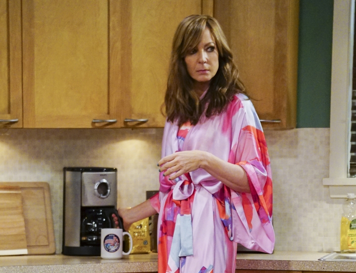 """This image released by CBS shows Allison Janney in a scene from the comedy, """"Mom."""" Janney was nominated Thursday for an Emmy for outstanding lead actress in a comedy series. The 70th Emmy Awards will be held on Monday, Sept. 17. (Sonja Flemming/CBS via AP)"""