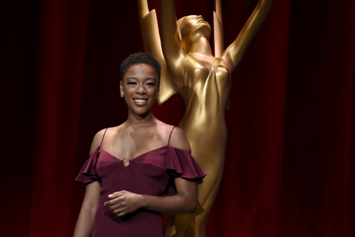 Samira Wiley poses on stage following the 70th Primetime Emmy Nominations Announcements at the Television Academy's Saban Media Center on Thursday, July 12, 2018, in Los Angeles. (Photo by Chris Pizzello/Invision/AP)