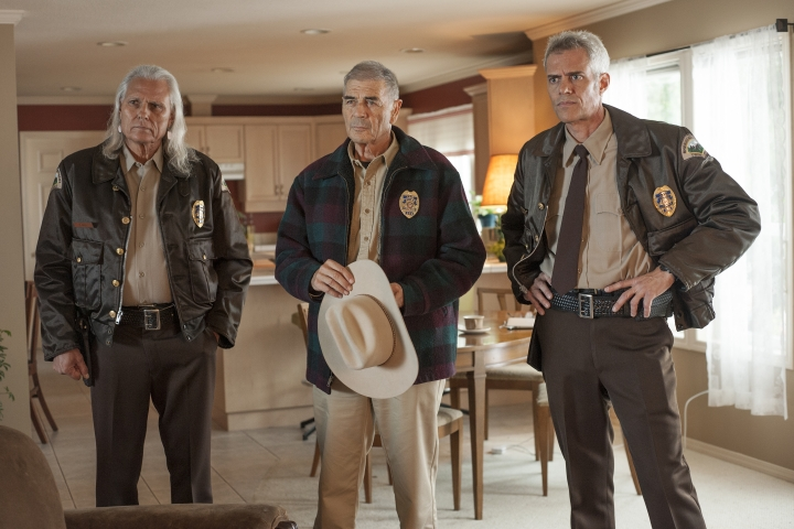 "This image released by Showtime shows, from left, Michael Horse, Robert Forster and Dana Ashbrook from the series ""Twin Peaks."" ""Roseanne,"" ""Will & Grace,"" ""Twin Peaks"" and ""American Idol"" were among the reboots largely snubbed by the television academy on Thursday. (Suzanne Tenner/Showtime via AP)"