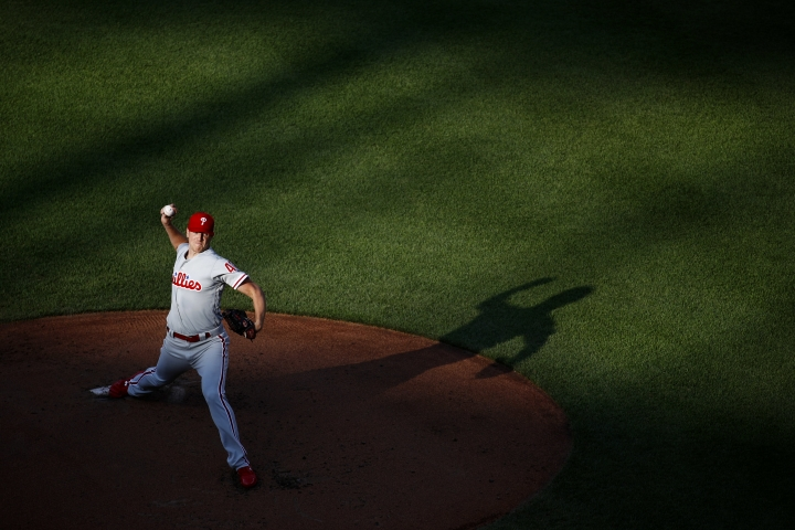 Philadelphia Phillies starting pitcher Nick Pivetta throws to a Baltimore Orioles batter durin the second inning of a baseball game Thursday, July 12, 2018, in Baltimore. (AP Photo/Patrick Semansky)