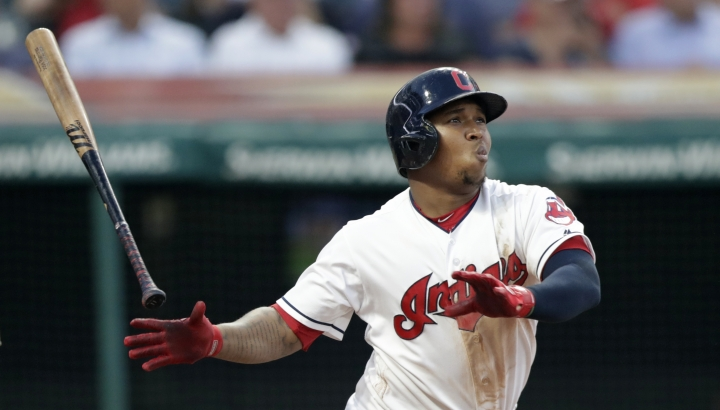 Cleveland Indians' Jose Ramirez watches his solo home run off New York Yankees starting pitcher Luis Severino during the fifth inning of a baseball game Thursday, July 12, 2018, in Cleveland. (AP Photo/Tony Dejak)