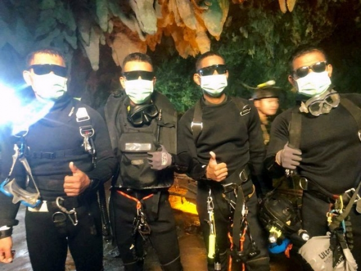 Four Thai Navy Seals are seen after leaving the cave safe during the rescue mission, Chiang Rai Province, Thailand July 10, 2018 in this photo obtained from social media.  Thai Navy Seal/via REUTERS