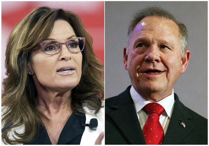 """This combination photo shows former Alaska Gov. and Republican vice-presidential candidate Sarah Palin at the Conservative Political Action Conference (CPAC) in National Harbor, Md. on Feb. 26, 2015, left, and former Alabama Chief Justice and U.S. Senate candidate Roy Moore at a news conference in Birmingham, Ala., on Nov. 16, 2017. Both Palin and Moore have said they were duped by actor Sacha Baron Cohen for his upcoming television series, """"Who Is America?,"""" premiering Sunday, July 15 on Showtime. (AP Photo)"""