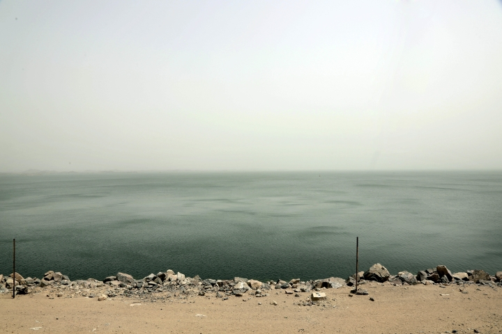 This May 7, 2018, photo shows lake Nasser, the other side of the high dam which flooded the Nubians' ancestral homeland in the1950s and 1960s, in Aswan, Egypt. Nubians were evacuated from villages along the Nile River to make way for the High Dam. Now a younger generation has revived the long-dormant cause of Egypt's Nubians, campaigning for a return to their lands and struggling to preserve their culture. (AP Photo/Nariman El-Mofty)