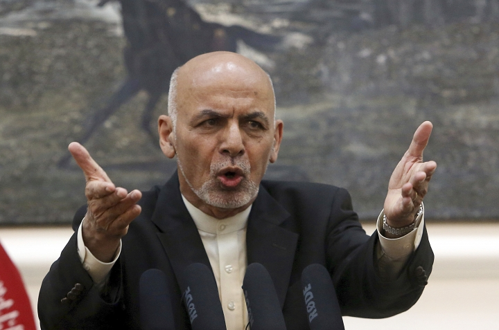 Afghan President Ashraf Ghani, speaks during, a press conference at the presidential palace in Kabul, Afghanistan, Sunday, July 15, 2018. (AP Photo/Rahmat Gul)