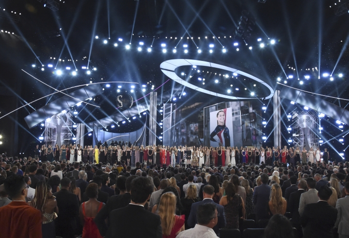 Recipients of the Arthur Ashe Award for Courage appear at the ESPY Awards, at Microsoft Theater on Wednesday, July 18, 2018, in Los Angeles. (Photo by Phil McCarten/Invision/AP)